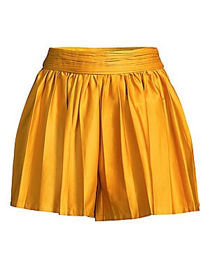 """Image of Chic high-rise shorts finished with a pleated look. Gathered banded waist Concealed side zip Pleated finish Stretch lining Organic cotton/spandex Dry clean Imported SIZE & FIT Rise, about 14.5"""" Inseam, about 2"""" Model shown is 5'10"""" (177cm) wearing a US si"""