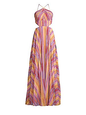 Janet Striped Halter Gown by Amur