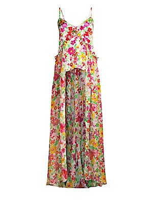 """Image of A painterly floral print and a high-low hem adds a feminine feel to this relaxed ruffle-trimmed long silk camisole. V-neck Spaghetti straps Pullover style Ruffle trim High-low hem Silk Dry clean Made in USA SIZE & FIT Draped silhouette About 58"""" from shou"""