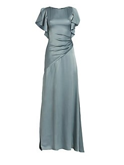 4ffd6d68a842 Theia. Satin Asymmetric Ruched Gown