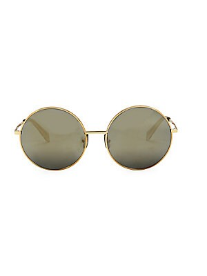 Image of Chic goldtone details adorn these on-trend round frames. 100% UV protection Mirrored lenses Goldtone logo temple hardware Case and cleaning cloth included Metal Spot clean Made in Italy SIZE 61mm lens width 18mm bridge width 145mm temple length. Soft Acce