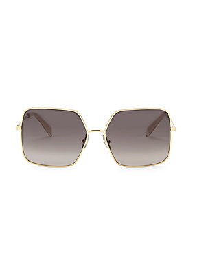 Image of Chic goldtone details adorn these on-trend square frames. 100% UV protection Gradient lenses Goldtone logo temple hardware Case and cleaning cloth included Metal Spot clean Made in Italy SIZE 60mm lens width 15mm bridge width 145mm temple length. Soft Acc