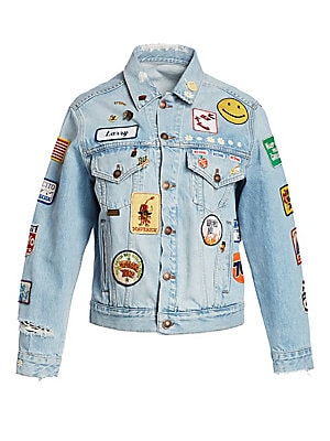 Oversized Embellished Patch Trucker Jean Jacket by Re/Done