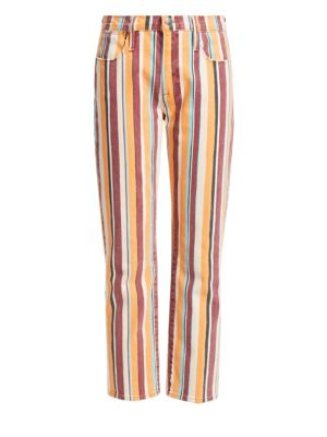 Frame Jeans Le High Straight Painterly-Stripe Ankle Jeans