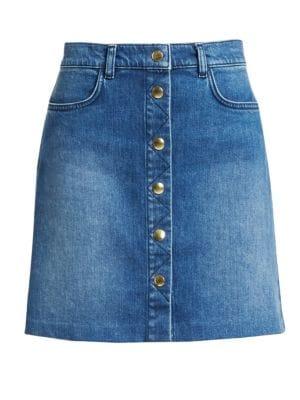 Frame Skirts Claire Button Front Denim Mini Skirt