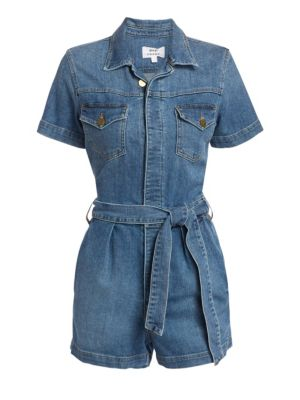 Frame Tops Pleat-Front Denim Coverall