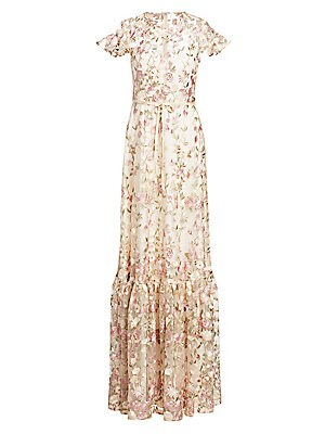 d9afa952ed8 ML Monique Lhuillier - Embroidered Floral Overlay Gown