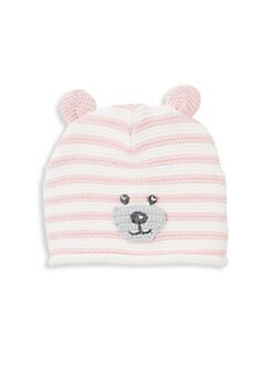 a4a7ced7200 Elegant Baby. Baby Girl s Striped Knit Bear Hat