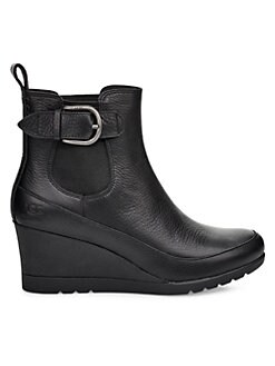 a04f17004 Arleta Wedge Leather Ankle Boots BLACK. QUICK VIEW. Product image