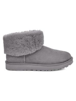 Classic Mini Fluff Sheepskin Lined Suede Boots