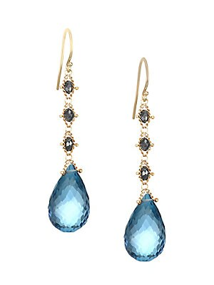 "Image of Faceted blue topaz tear drops hang from black diamond adorned 18K yellow gold drops. Black diamonds, 2.5 tcw 18K yellow gold London blue topaz Post back Made in USA SIZE Drop, about 1.5"". Fashion Jewelry - Modern Jewelry Designers > Saks Fifth Avenue. Ama"