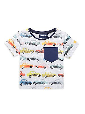Image of A faded repeating car print and a contrast chest pocket add interest to this stretch cotton T-shirt. Banded crewneck Short sleeves Pullover style Chest patch pocket Cotton/spandex Machine wash Imported. Children's Wear - Classic Children > Saks Fifth Aven