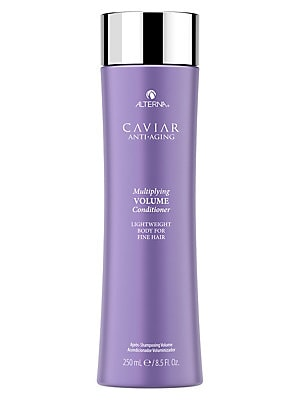 Image of WHAT IT IS From the Caviar Anti-Aging Collection. A body-building conditioner for multiplied volume and lightweight moisture. No animal testing. Paraben-free. 8.5 oz. Made in USA. WHAT IT DOES Conditions without weighting hair down. Boosts hair fullness a