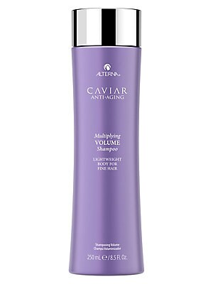 Image of WHAT IT IS From the Caviar Anti-Aging Collection. A gentle cleanser for multiplied volume from root to tip. No animal testing. Paraben-free. 8.5 oz. Made in USA. WHAT IT DOES Gentle cleansing. Boosts hair fullness and volume. Helps hair retain moisture. R