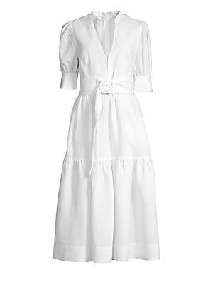 8bcb199ac2 Rebecca Vallance - Holliday Puff Sleeve Linen-Blend Dress - saks.com