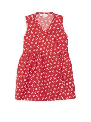 Smiling Button Little Girl S Double Button Cherry Dress