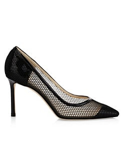 b2f0e9db88 Jimmy Choo. Romy Patent Leather Netted Pumps
