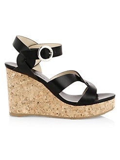 f4f87b1a6d54 Aleili Leather Cork Wedges BLACK. QUICK VIEW. Product image