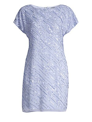 """Image of Allover tonal embellishment adds sparkle and glamour to this cap sleeve shift. Boatneck Cap sleeves Concealed back zip closure Polyester Spot clean Imported SIZE & FIT Shift silhouette About 33.5"""" from shoulder to hem Model shown is 5'10"""" (177cm) wearing"""