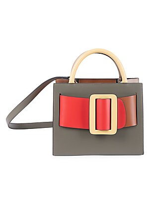 "Image of ONLY AT SAKS. Smooth leather top handle flaunts a chunky colorblocked buckled design. Double top handles Open top with hook clasp Silvertone hardware One interior zip pocket Suede lining Leather Imported SIZE Removable, adjustable shoulder strap, 38""-42"""