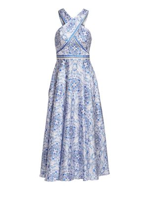 Ml Monique Lhuillier Dresses Floral Printed Mikado Midi Dress