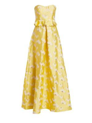 Ml Monique Lhuillier Tops Floral Strapless Peplum Gown