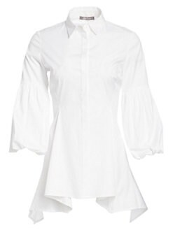 97ca36a4a59131 QUICK VIEW. Lela Rose. Stretch-Cotton Poplin Puff Sleeve Shirt