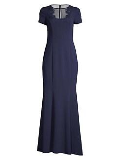 86a1aca2312d16 Aidan Mattox. Illusion Short Sleeve Gown