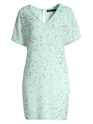 Aidan Mattox Beaded T Shirt Dress