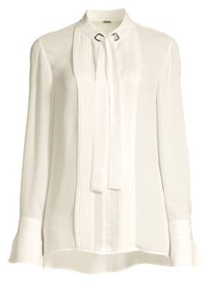 75acaed80553 Elie Tahari Lisa Pleat Front Tie-Neck Blouse