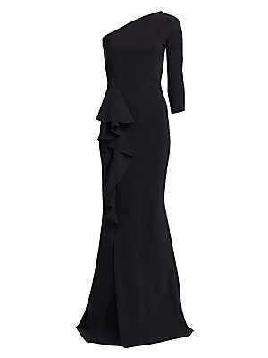 """Image of A dramatic ruffle drape highlights this stunning one-shouldered gown with chic front slit. Asymmetric one-shoulder neckline One long sleeve Pullover style Ruffle drape Front slit Polyamide/elastane Hand wash Made in Italy SIZE & FIT About 65"""" from shoulde"""