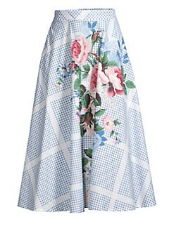 d190ee2275 QUICK VIEW. Weekend Max Mara. Nantucket Pacca Floral Check Cotton Midi Skirt