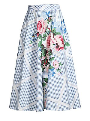 Nantucket Pacca Floral Check Cotton Midi Skirt by Weekend Max Mara