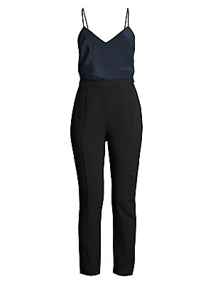 "Image of Slim-fit jumpsuit with camisole and pant design. V-neck Spaghettic straps Zip closure Lined Body: Silk Contrast: Polyamide/viscose/elastane Dry clean Made in USA of imported fabric SIZE & FIT Straight leg Inseam, 28"" Model shown is 5'10"" (177cm) wearing U"