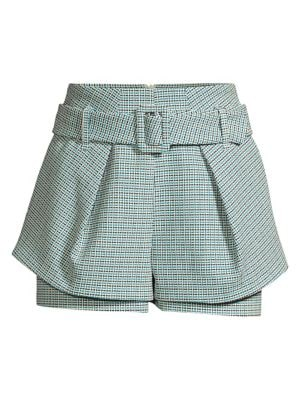 Maje Shorts Tiered Belted Tweed Shorts