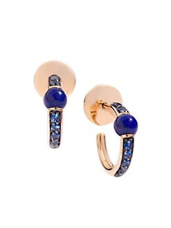 64daf3f23 Pomellato. M'ama non M'ama 18K Rose Gold Lapis & Blue Sapphire Hoop Earrings