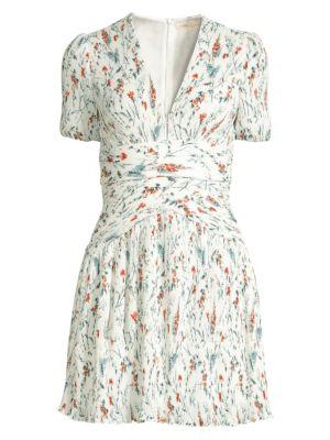 Maje Dresses Herbier Print Pleated Crepe Dress