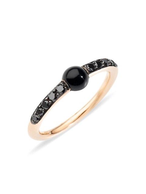 M'ama non M'ama 18K Rose Gold Onyx & Black Diamond Ring