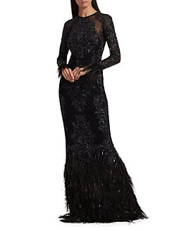 322cf72d514 Zuhair Murad. Moya Sheer Embellished Feather Gown