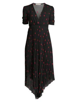 Maje Dresses Heart Embroidered Pleated Chiffon Midi Dress