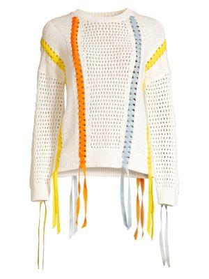 Maje Sweaters Ribbon Lace-Up Sweater