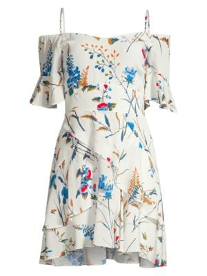 Maje Dresses Rhina Off-The-Shoulder Floral Mini Dress