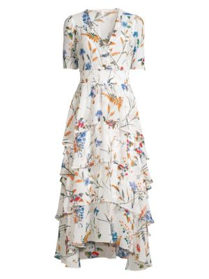 Maje Dresses Floral Ruffle High-Low Dress
