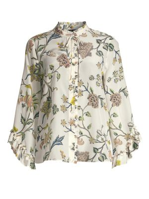 Kobi Halperin Tops Gwenn Ruffled Floral Silk Blouse