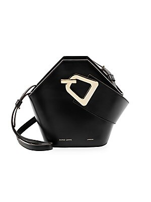 """Image of Modern geometric leather bucket bag with goldtone styling. Top handle Magnetic popper clasp Goldtone hardware Cotton lining Leather Imported SIZE Adjustable, removable shoulder strap, 18"""" to 20"""" drop 10.5""""W x 8.5""""H x 4.5""""D. Handbags - Collection Handbags."""