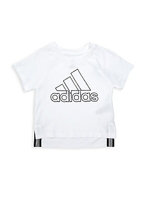 Image of Athletic short-sleeve tee with an outline logo on chest and drop-tail back hemline. Crewneck Short raglan sleeves Pullover style Outline logo on chest Drop-tail back hem Cotton/polyester Machine wash Imported. Children's Wear - Classic Children > Saks Fif
