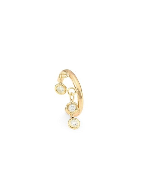 14K Yellow Gold Floating Diamond Ear Cuff