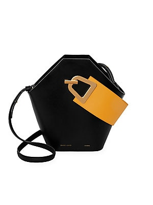 "Image of Modern geometric leather bucket bag with a contrasting top handle design. Top handle Magnetic popper clasp Cotton lining Leather Imported SIZE Adjustable, removable shoulder strap, 16"" to 18"" drop 12.5""W x 10.5""H x 4.5""D. Handbags - Collection Handbags >"
