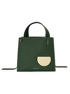 """Image of This smooth leather shopper tote flaunts a modern structured design. Open top Exterior flap pocket Interior removable zip pouch Cotton lining Leather Imported SIZE Double adjustable top handles, 5""""-10"""" drop 9.5""""W x 8.5""""H x 8.5""""D. Handbags - Collection Han"""