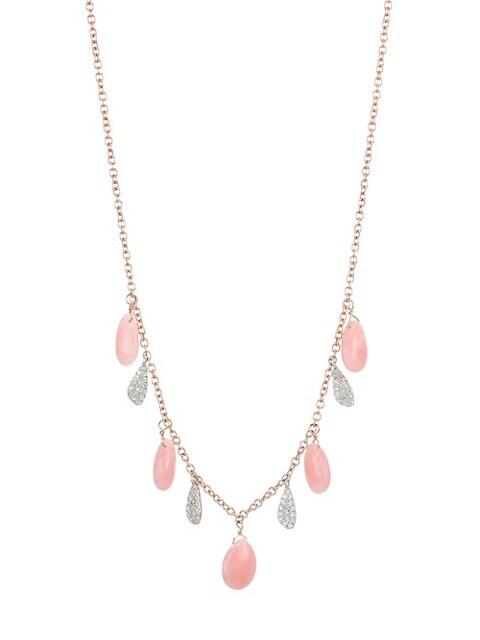 14K Rose Gold & 14K White Gold Diamonds Pink Opal Drop Necklace